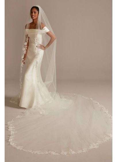 Embroidered 240in Beaded Floral Scroll Royal Veil - Intricately embroidered flowers, leaves, and scrolling vines wrap