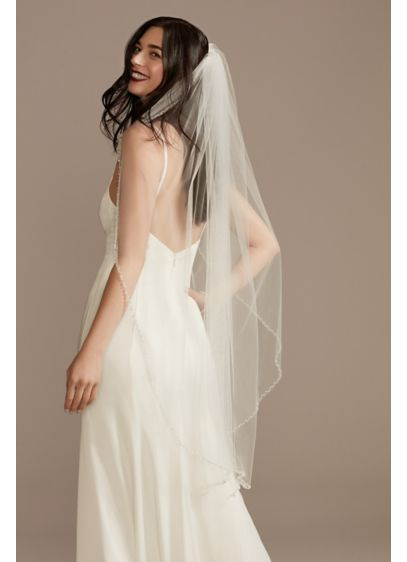 Clear Beaded-Edge Mid-Length Veil - Simple yet gleaming, this tulle fingertip veil is