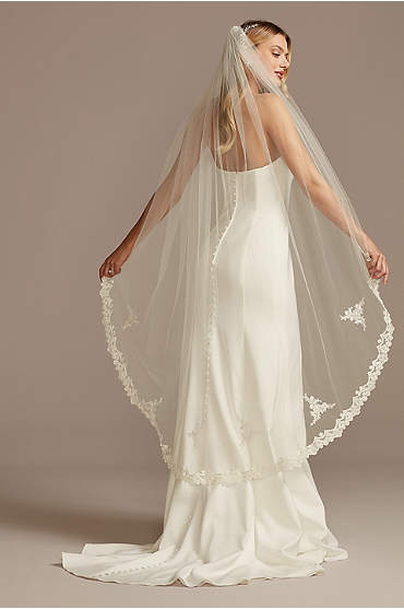 Pearl and Crystal Embroidered Walking Tulle Veil