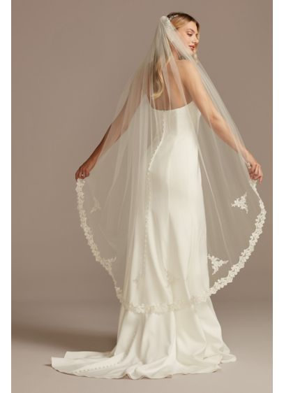 Pearl and Crystal Embroidered Walking Tulle Veil - Wedding Accessories