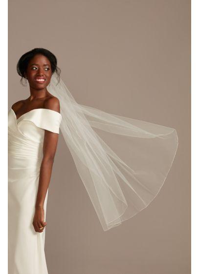 Simple Metallic Edge Mid-Length Veil - Wedding Accessories