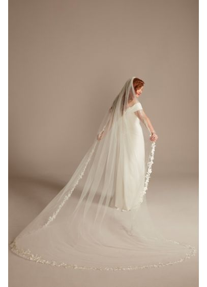 Beaded Floral Applique-Edge Cathedral-Length Veil - Wedding Accessories