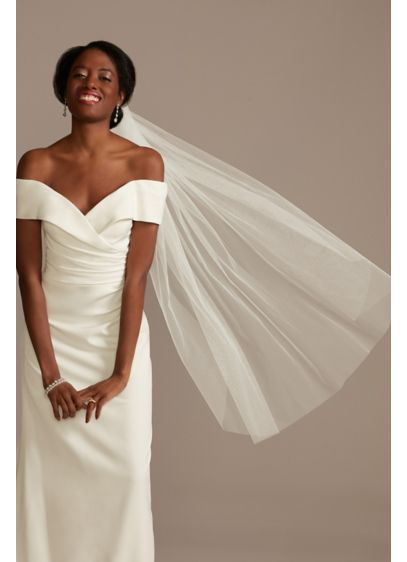 Raw-Edge Soft Tulle Fingertip Veil - Wedding Accessories