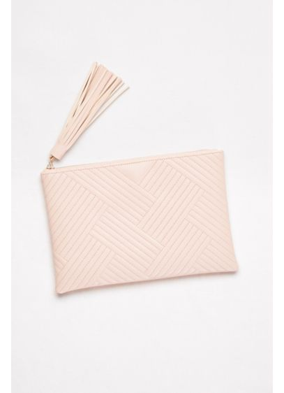 David's Bridal Brown (Quilted Faux-Leather Clutch with Tassel)