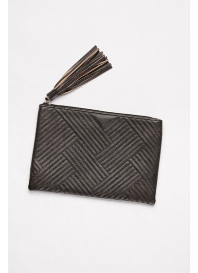 Black (Quilted Faux-Leather Tassel Clutch)