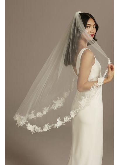 Cutout Lace Edge Mid-Length Veil with Sequins - A lacy floral edge is sprinkled with light