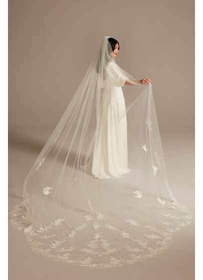 Floral Statement Applique Cathedral Veil - Allover floral lace appliques sprinkle this tulle cathedral
