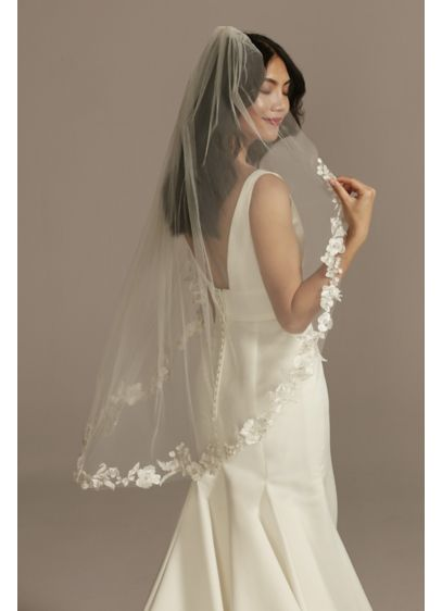 Pearls and Crystal Cutout Lace Mid-Length Veil - A lacy floral edge is sprinkled with light