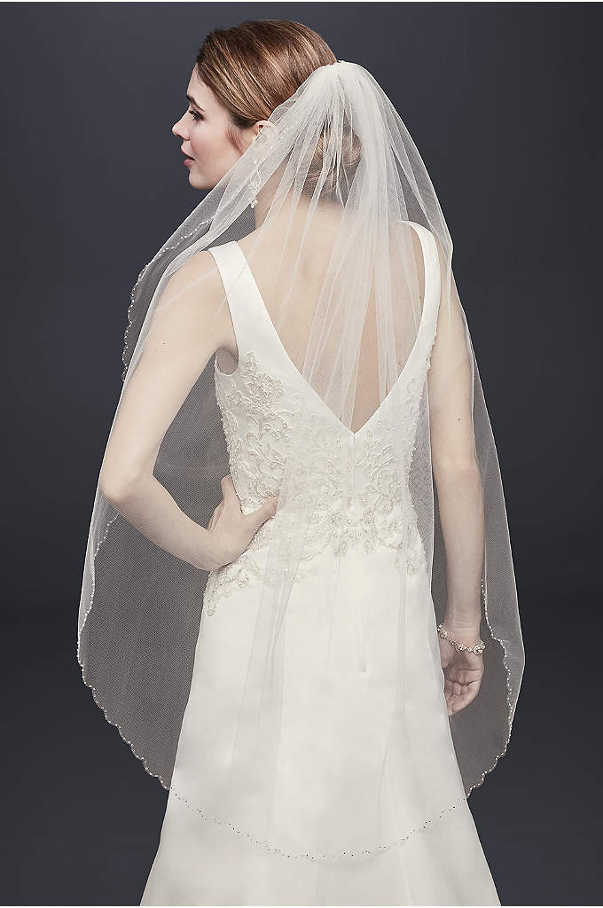 Mid Veil with Beaded Scalloped Edge - Add just the right touch with this mid