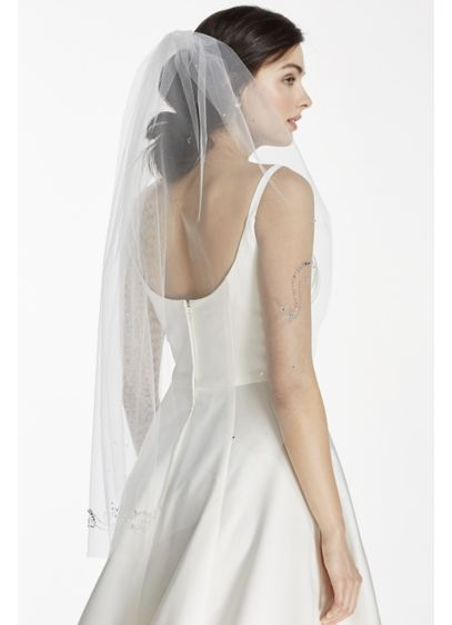Mid Veil with Embellished Scroll Pattern - Wedding Accessories