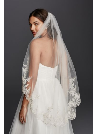 David's Bridal White (Scalloped Edge Mid Veil with Lace Details)