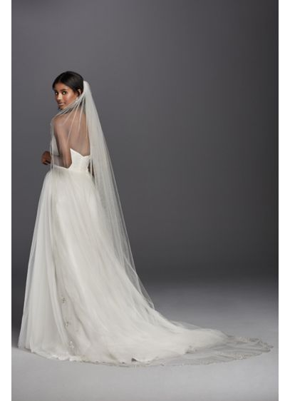 Scalloped Cathedral Veil with Beaded Scrollwork - Wedding Accessories