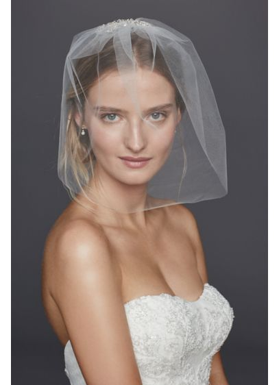 David's Bridal White (Caged Blusher Veil with Crystal Beaded Comb)