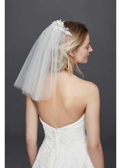 David's Bridal White (Short Veil with Lace Fabric Flowers)