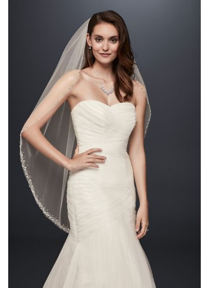 David's Bridal White (Delicate Scattered Crystal Fingertip Veil)
