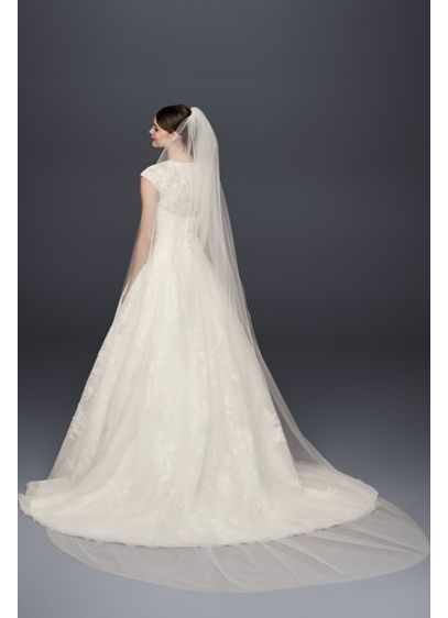 Single-Tier Raw Edge 120-Inch Cathedral Veil - Wedding Accessories