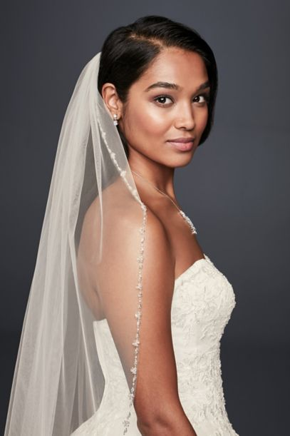 Delicate Beaded Edge Fingertip Veil Wedding Accessories