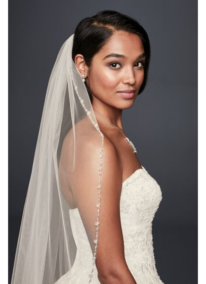 Delicate Beaded Edge Fingertip Veil - Wedding Accessories