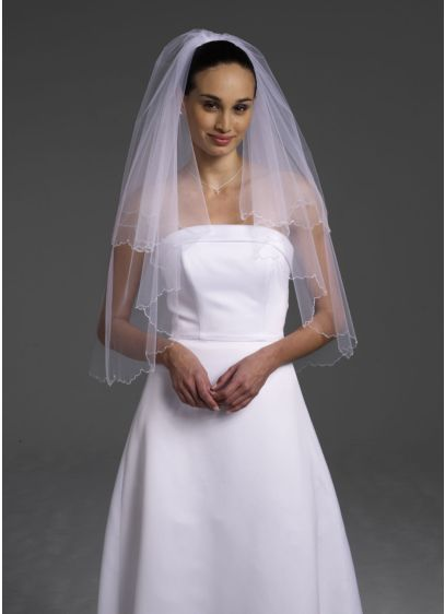 2 Tier Elbow Veil with Scalloped Beaded Edge - Wedding Accessories