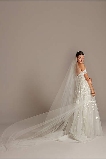 Raw-Edge Tulle Cathedral-Length Veil
