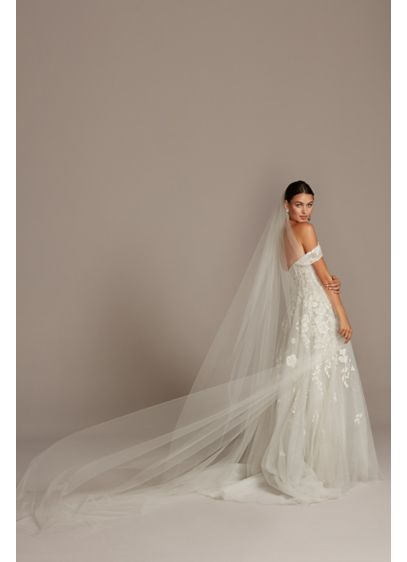 White (Raw-Edge Tulle Cathedral-Length Veil)