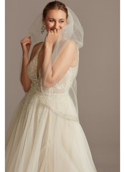 Mid-Length Veil with Encrusted Filigree Edge - Wedding Accessories