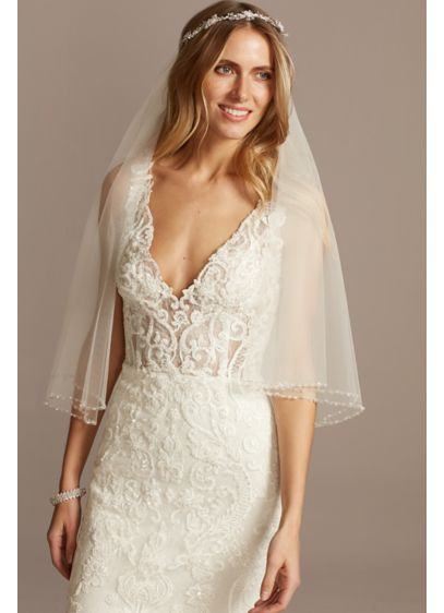 David's Bridal Ivory (Two Tier Fingertip Veil with Beaded Edge)