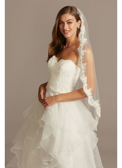 Tulle Fingertip Veil with Scalloped Lace Edge - Wedding Accessories