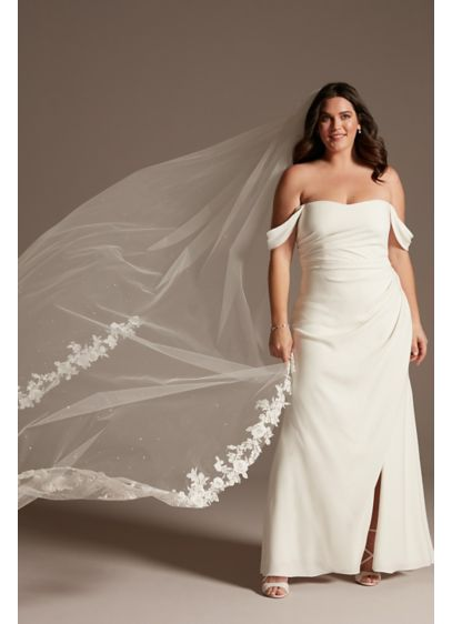 Floral Lace Cathedral Veil with Swarovski Crystals - Wedding Accessories