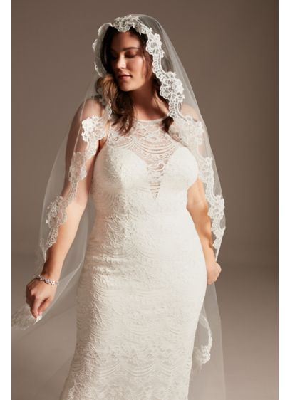 Floral Lace and Tulle Mantilla Cathedral Veil - Trimmed in beautiful floral lace, this cathedral veil