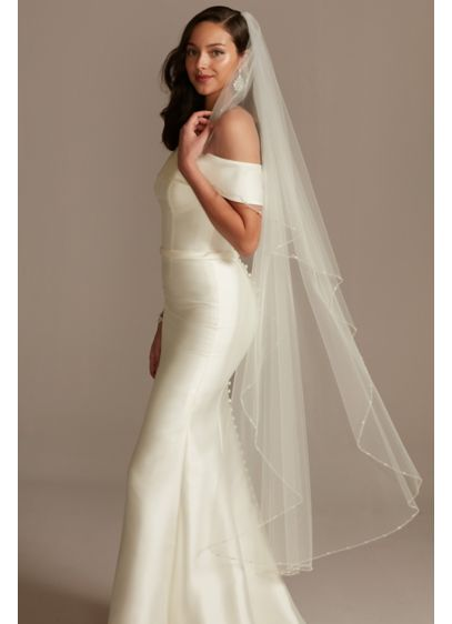 Pearl Bead And Crystal Trimmed Tulle Walking Veil - Subtle yet shimmering, this beautiful walking-length tulle veil