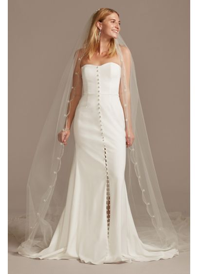 Cathedral Length Veil with Beaded Scalloped Trim - Wedding Accessories