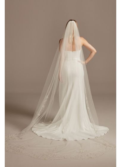 Chapel Length Veil with Embroidered Beaded Scrolls - Delicate metallic embroidery and intricate beading form light-catching