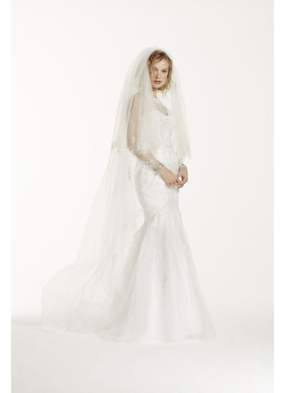 Two Tier Scallop Beaded Edge Cathedral Veil - Wedding Accessories