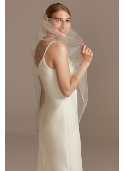 Fingertip Length Shimmer Tulle Veil - Wedding Accessories