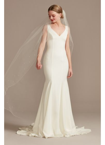 Scalloped Pearl Edge Tulle Walking Veil - Wedding Accessories