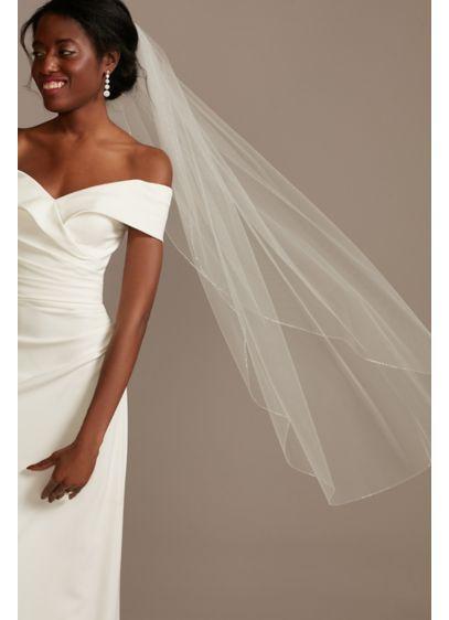 Slim Metallic Beaded Edge Mid-Length Veil - Wedding Accessories