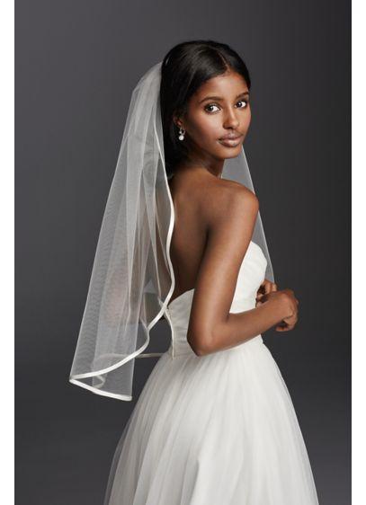 Satin Trim One Tier Mid Veil - Wedding Accessories