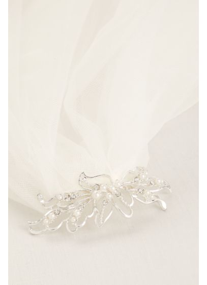 Short Veil with Pearl Wire Flower Comb - Wedding Accessories