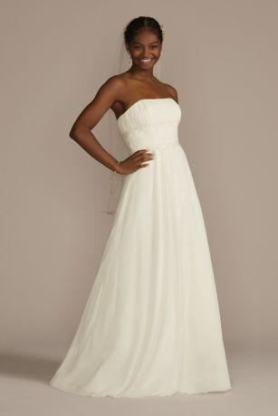 514c387288 Soft Chiffon Wedding Dress with Beaded Lace Detail | David's Bridal