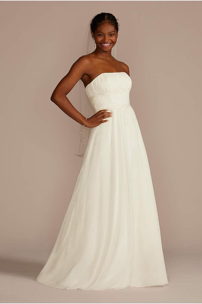 Soft Chiffon Wedding Dress with Beaded Lace Detail