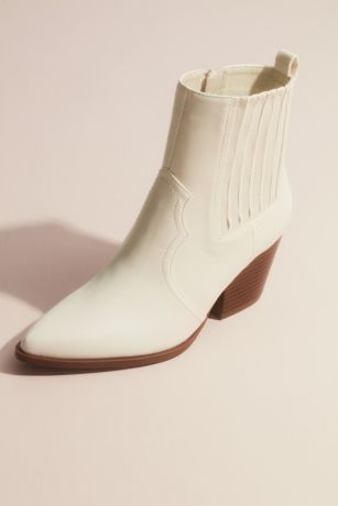 Qupid Ivory Boots (Western Block Heel Ankle Boot)