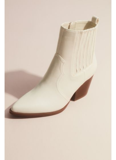 Qupid Ivory (Western Block Heel Ankle Boot)