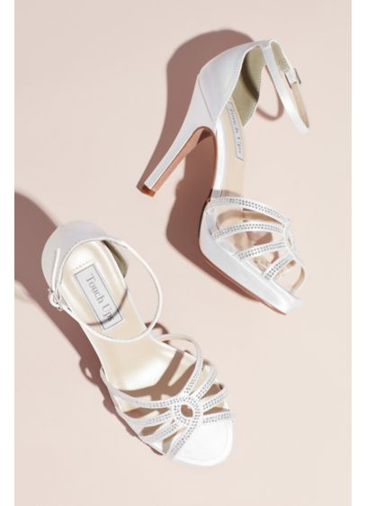 Dyeable Satin Platform Heels with Crystal Detail - This satin platform pair sparkles with a strappy