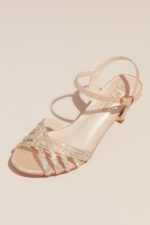Blossom Beige;Grey;Pink Heeled Sandals (Crisscross Glittery Sandals with Crystals)