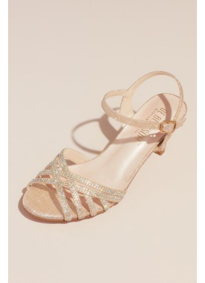 Blossom Grey (Crisscross Glittery Sandals with Crystals)