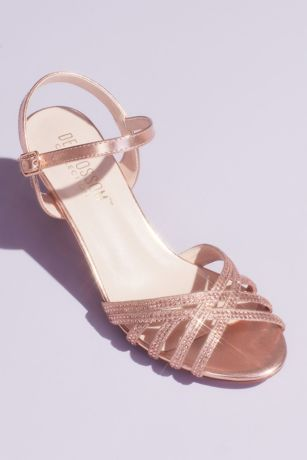 Blossom Beige;Grey;Pink Sandals (Crisscross Glittery Sandals with Crystals)