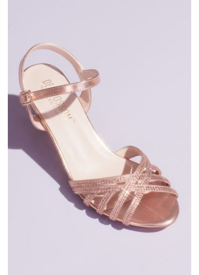 Crisscross Glittery Sandals with Crystals - A strappy mid-height sandal gets a glamorous, glittery