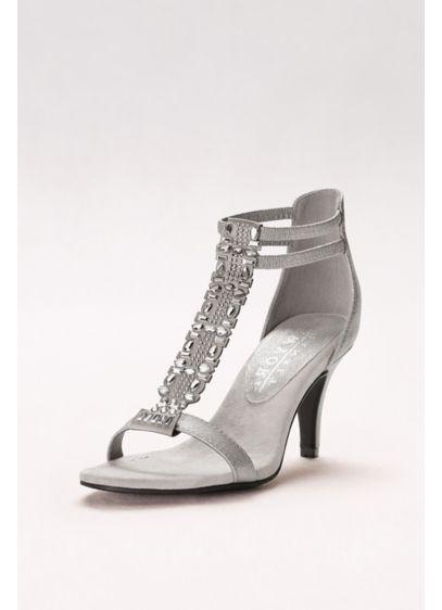New York Transit Grey (Beaded T-Strap Gladiator Heels)