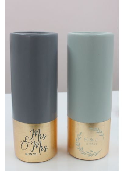Personalized Gilded Ceramic Vase - A lovely shower or wedding gift that complements